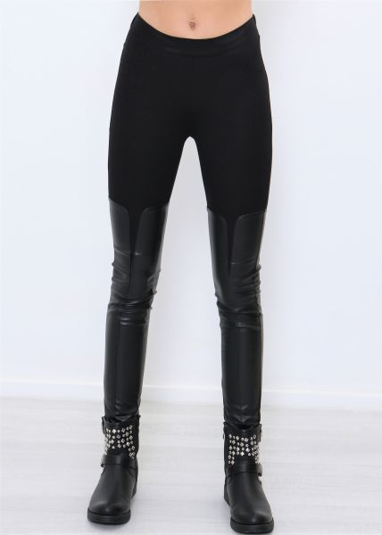 Thermo-Leggings mit Leder, schwarz