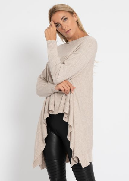 Oversize Pullover, hinten lang, beige