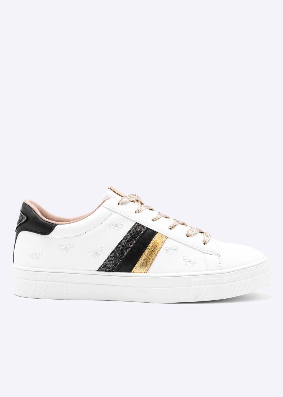 Plateau Sneaker mit Stickerei, weiß