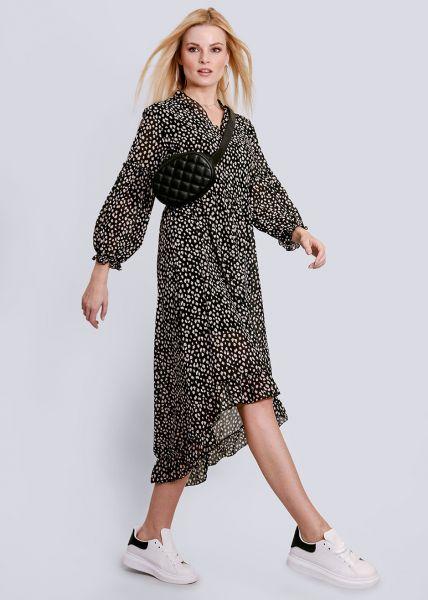 Midi-Hängerchenkleid mit Print, schwarz