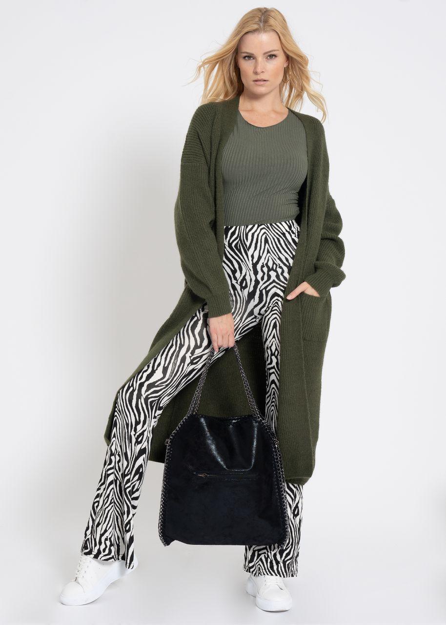Langer Strick-Cardigan mit Taschen, khaki