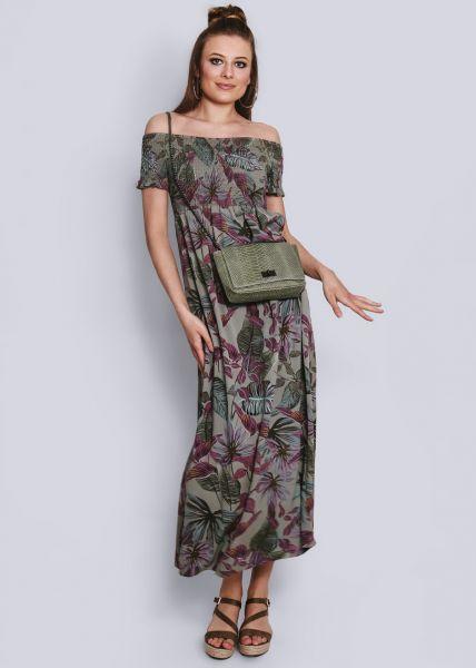 Schulterfreies Maxikleid mit Palmen-Print, khaki