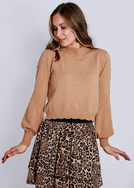 Pullover mit Bogenkante, camel