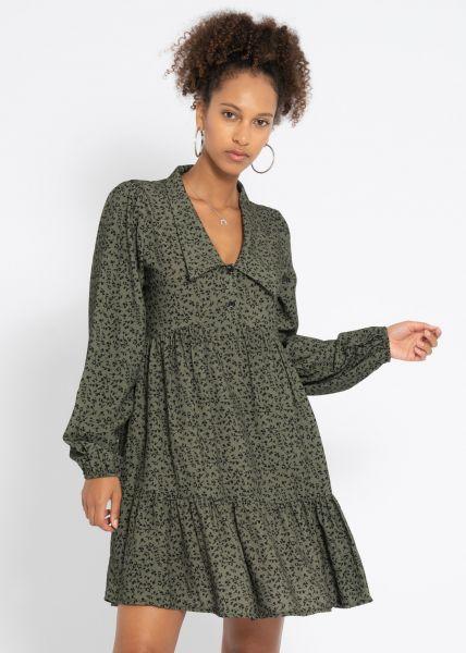 Kleid mit Kragen und sassy Print, khaki