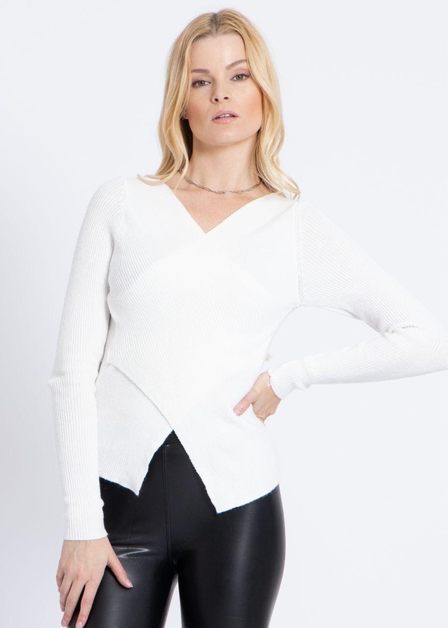 Pullover mit Wickeloptik, offwhite