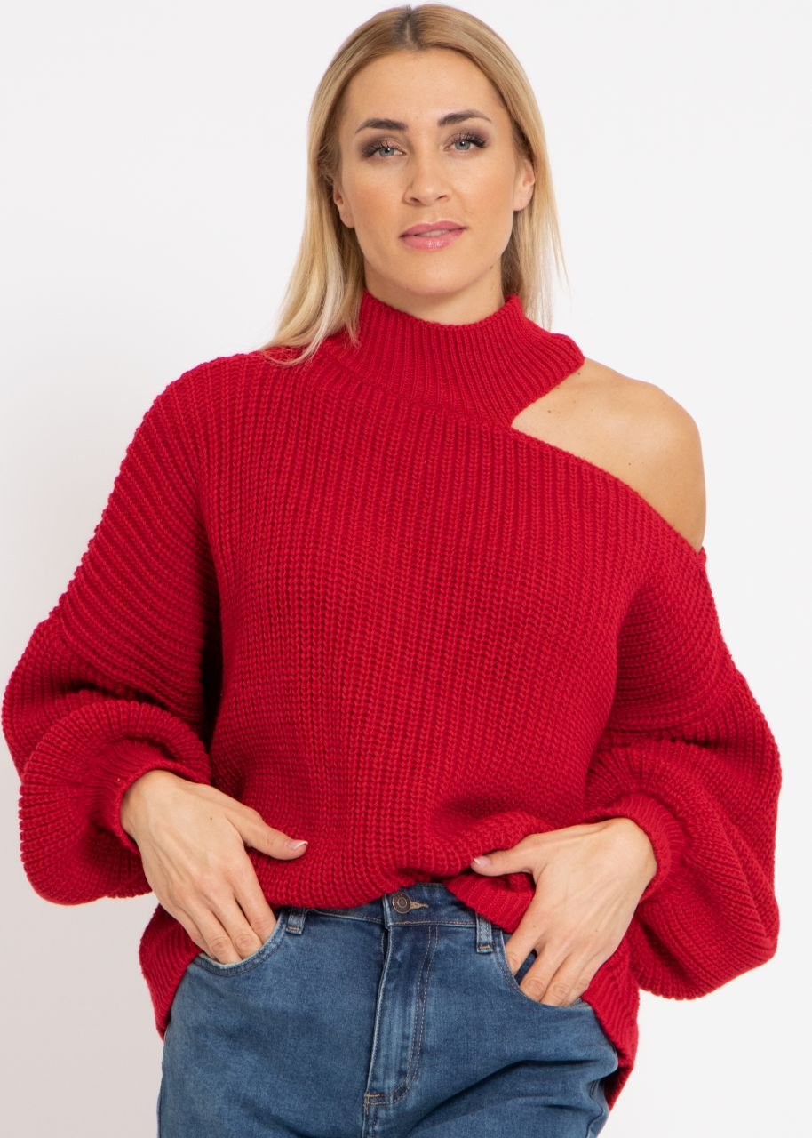 Oversize Cut-Out Pullover, dunkelrot