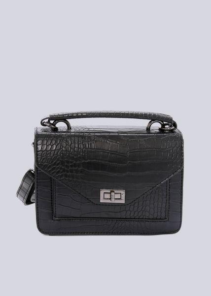 Tasche mit Tragehenkel in Kroko-Optik, schwarz
