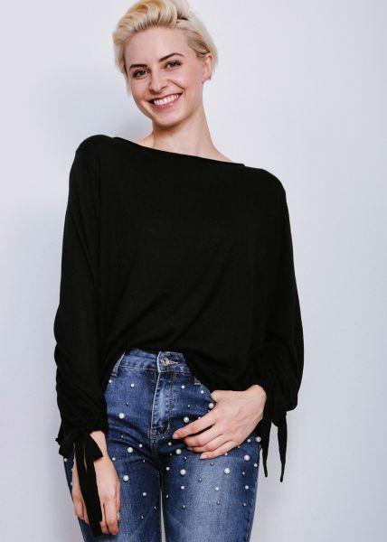 Oversize Pullover mit weitem Arm, schwarz