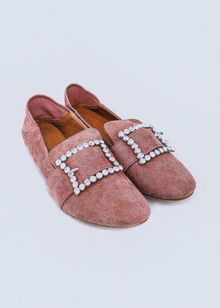 Loafer mit Glitzerschnalle, rosa