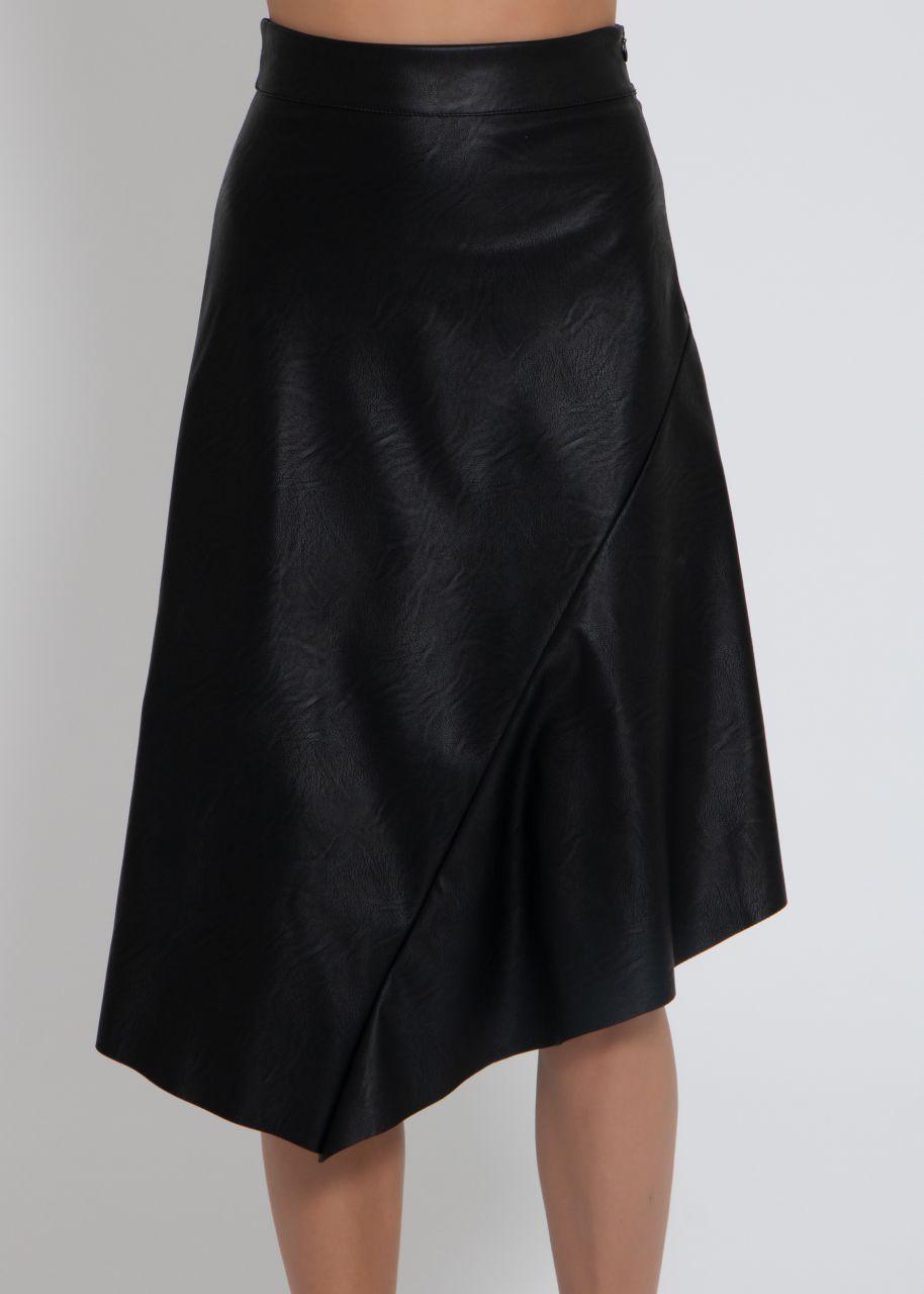 Asymmetrischer Lederrock, schwarz