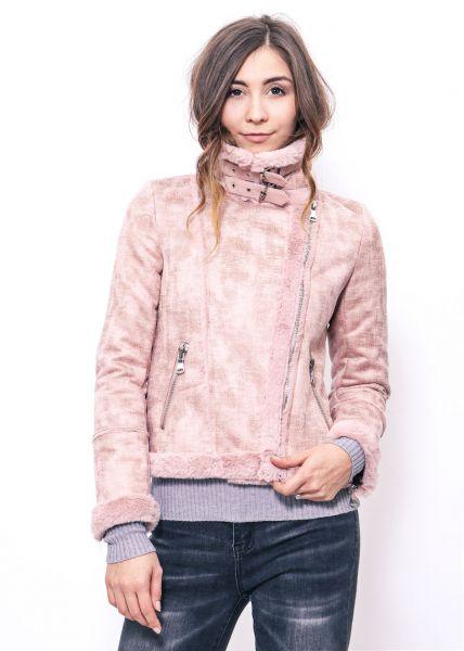 Pilotenjacke mit Fake Fur, rosa