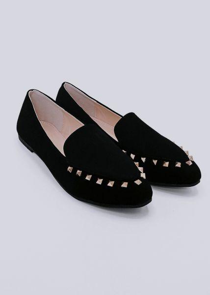 Loafer mit Nieten, schwarz