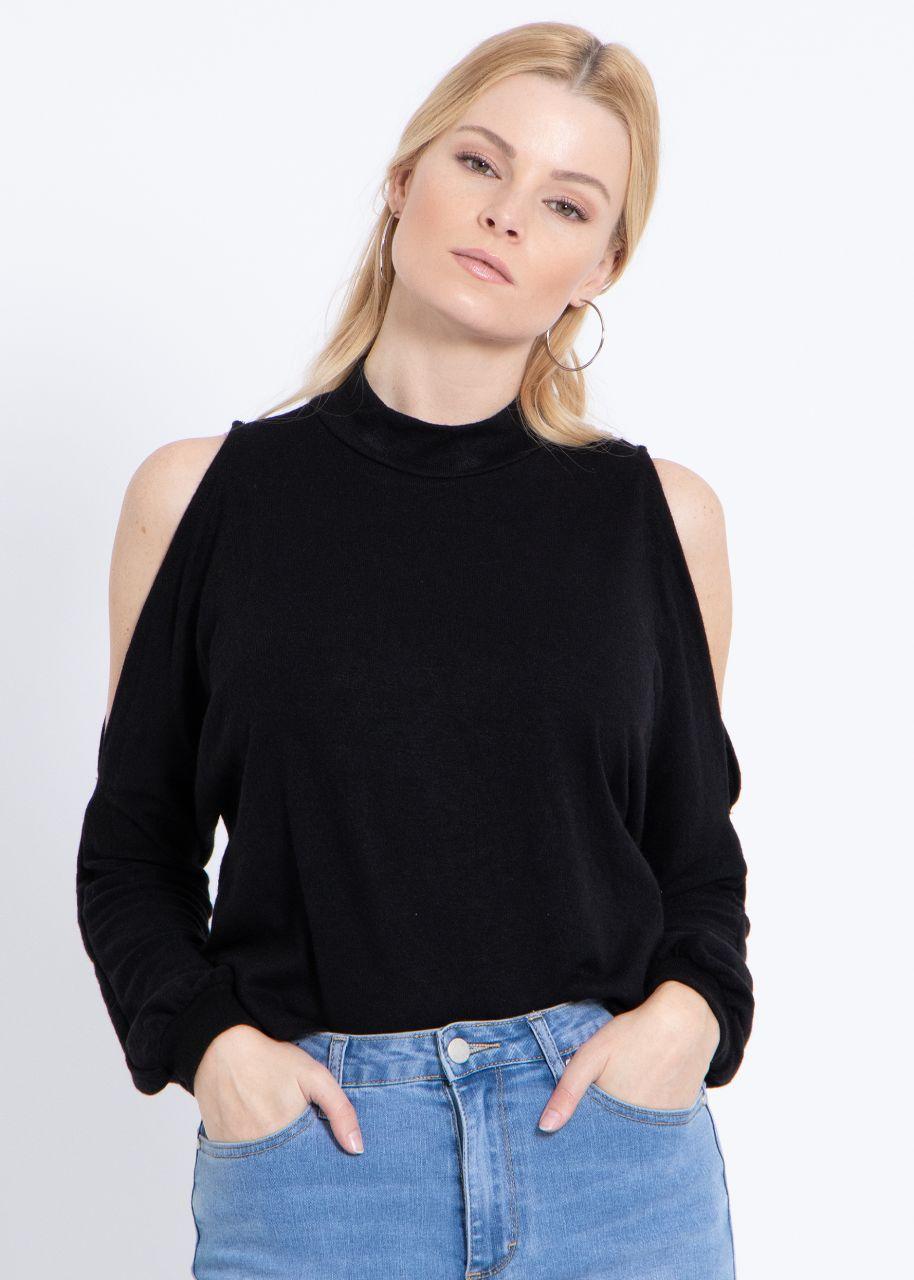 Lässiges Shirt mit Cut-Outs, schwarz