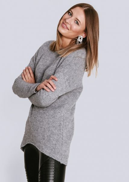 Oversize Pullover, hellgrau