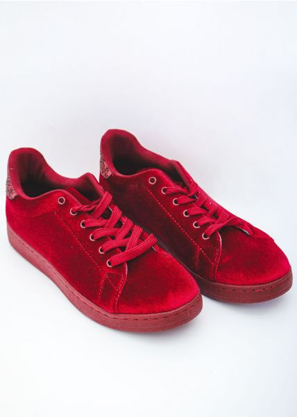 Samt-Sneaker mit Glitzer, rot