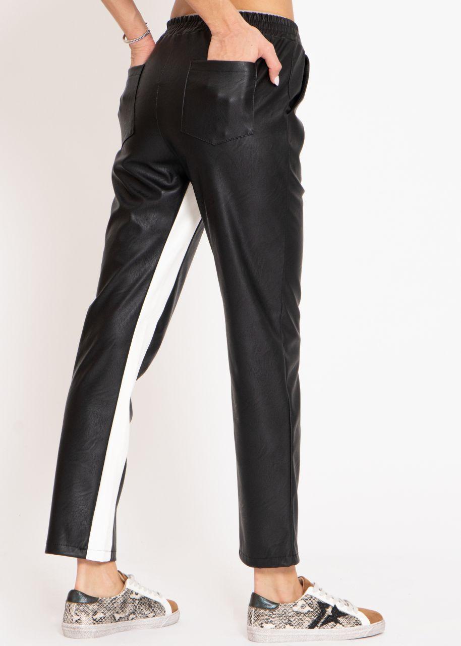 Leder-Hose mit weißen Streifen, schwarz