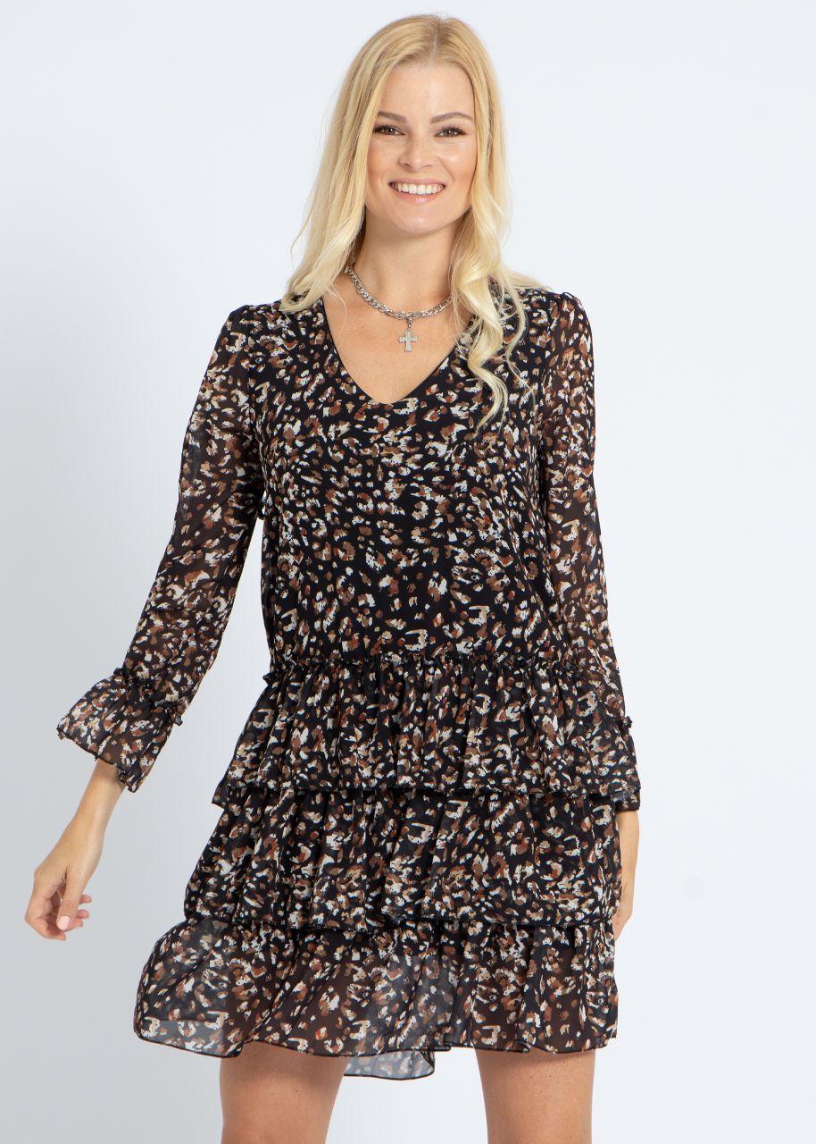 Kleid mit Volantsrock und Animal-Print, schwarz/braun