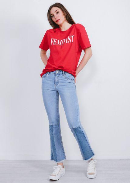 Knöchellange Midwaist-Jeans mit Schlag
