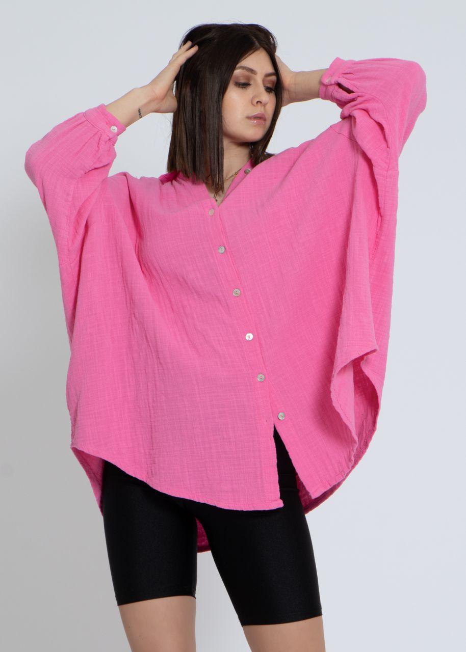 Ultra oversize Blusenhemd in Leinen-Optik, pink