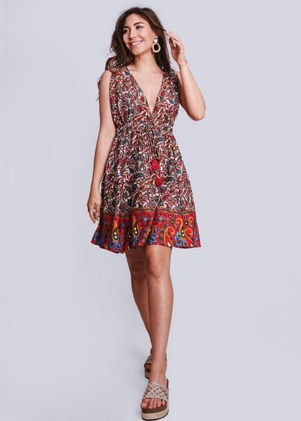 Kleid mit tiefem V-Ausschnitt und Bordüre, rot