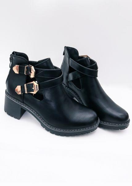 Cut-Out Boots mit 2 Schnallen, schwarz