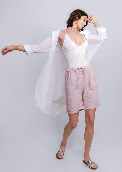 Blusenmantel aus gecrashter Baumwolle, weiß
