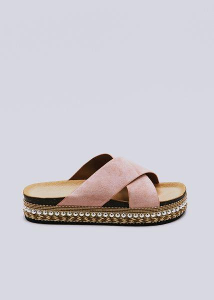 Plateau-Slider mit goldenen Nieten, rosa