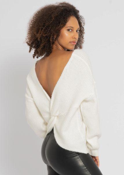 Pullover mit geschlungenem Rückenausschnitt, offwhite