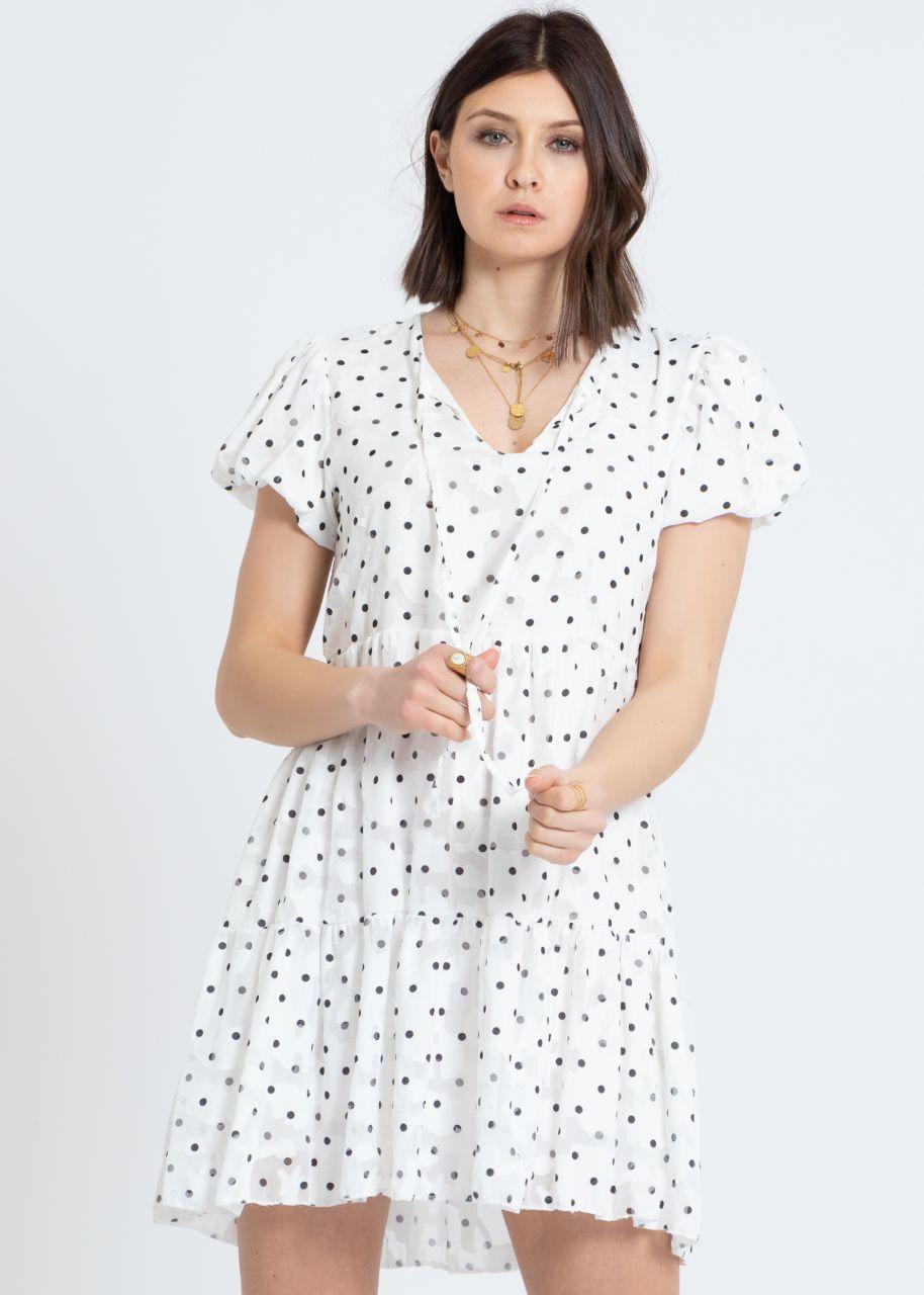 Mini Hängerchenkleid mit Tupfen-Print, weiß