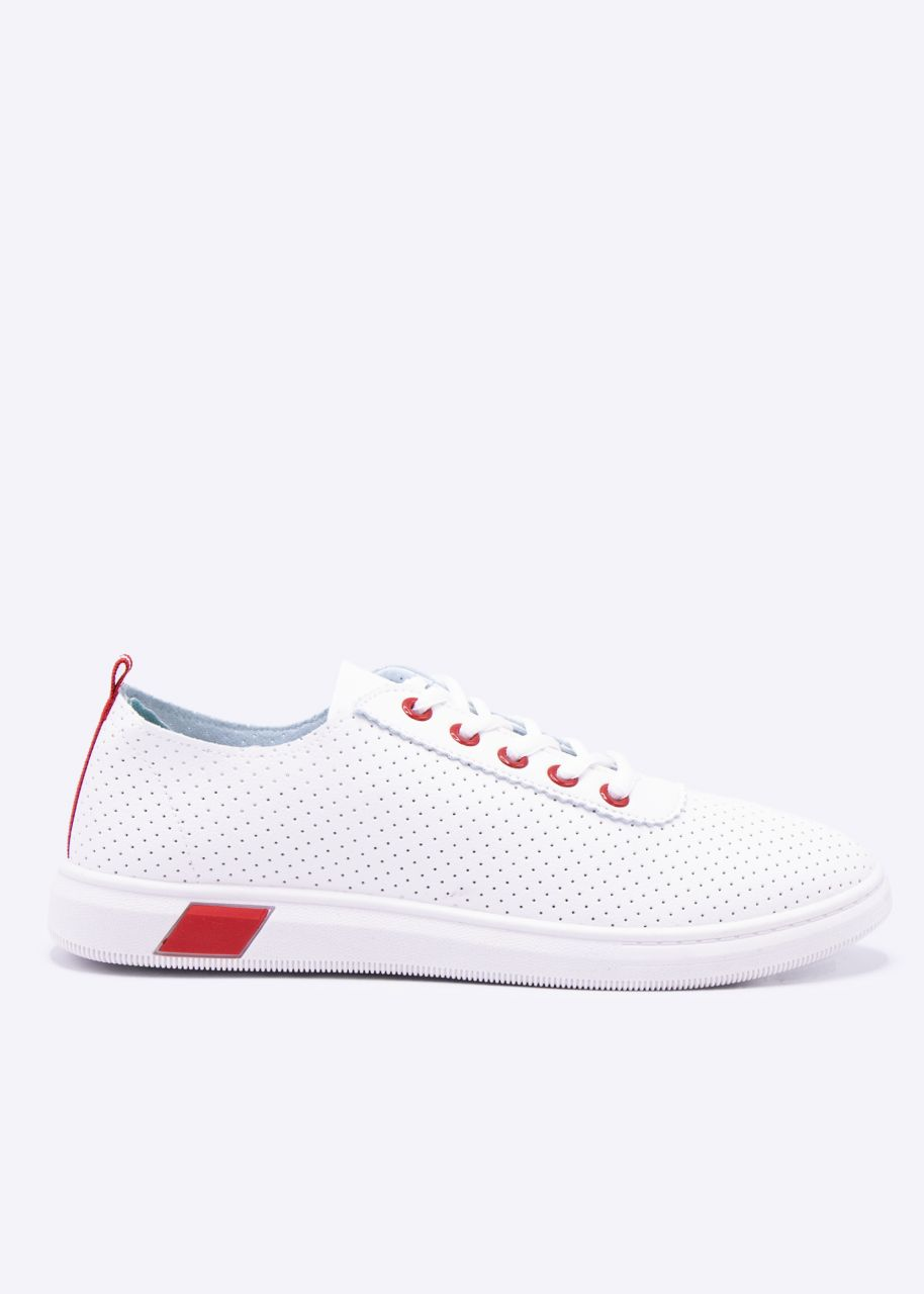 Sneaker mit roten Details, weiß