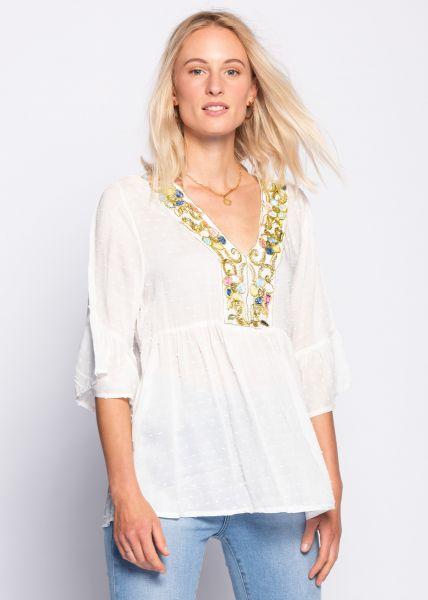 Oversize Tunika-Bluse mit Bordüre, weiß