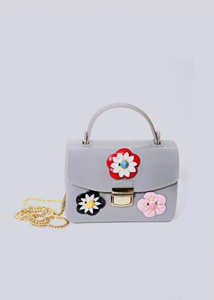 Mini-Bag mit Blüten, grau
