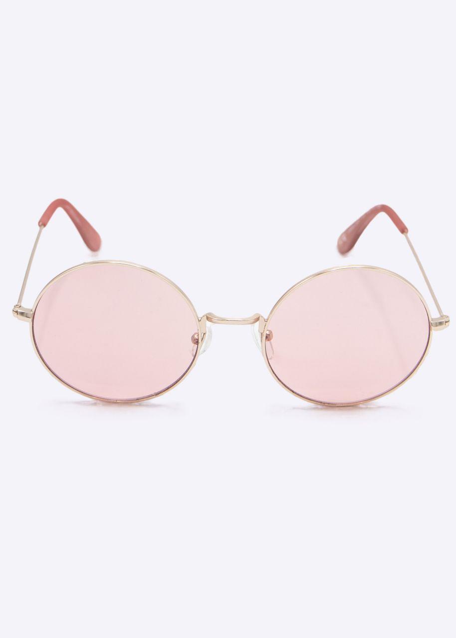 Runde Sonnenbrille mit rosa Gläsern, roségold