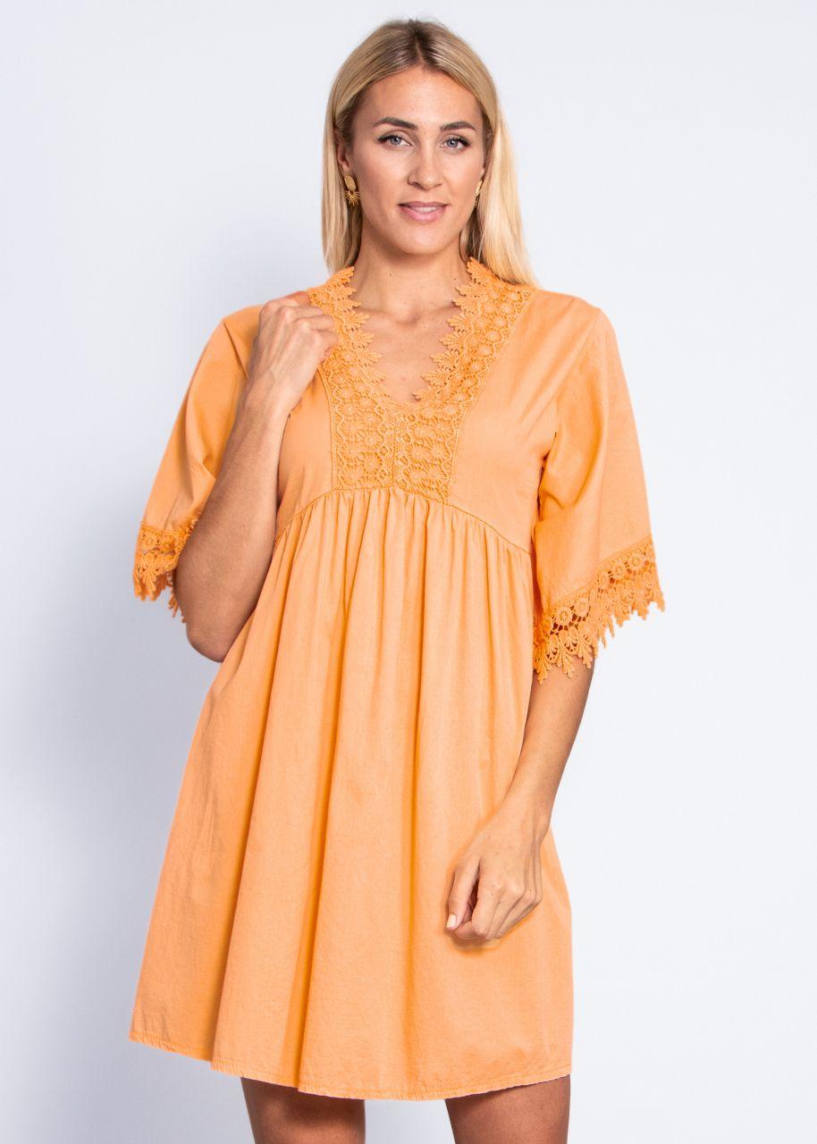 Tunika-Kleid mit Spitze, orange