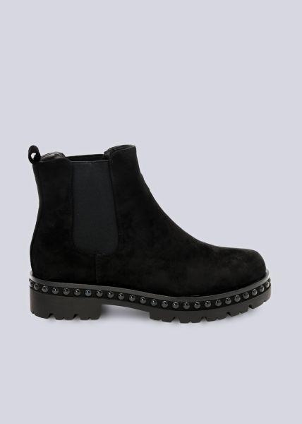 Chelsea-Boots mit schwarzen Nieten, schwarz