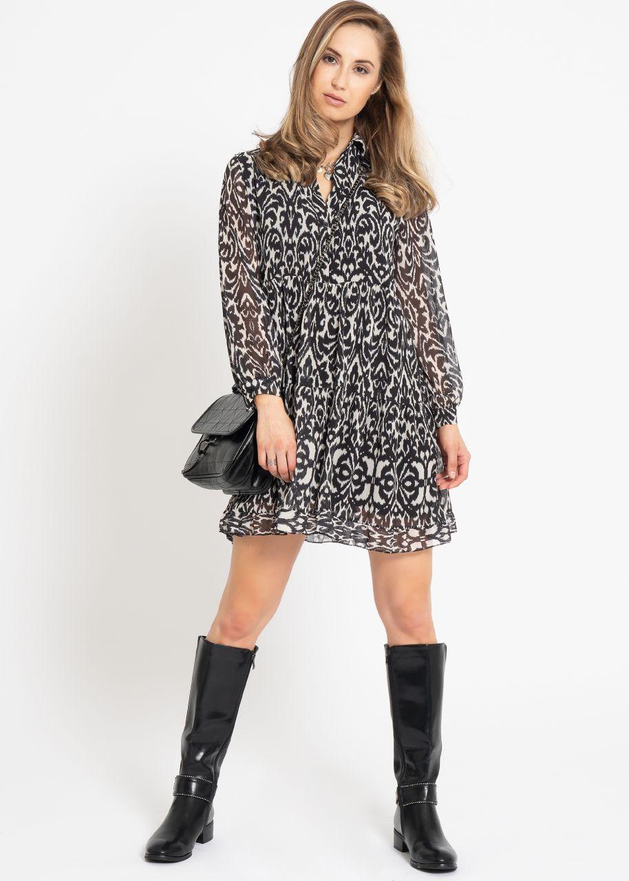 Hängerchenkleid mit Print, schwarz/weiß