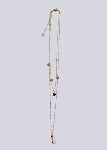 Kombinierte Halskette mit Muschel und Plättchen, gold