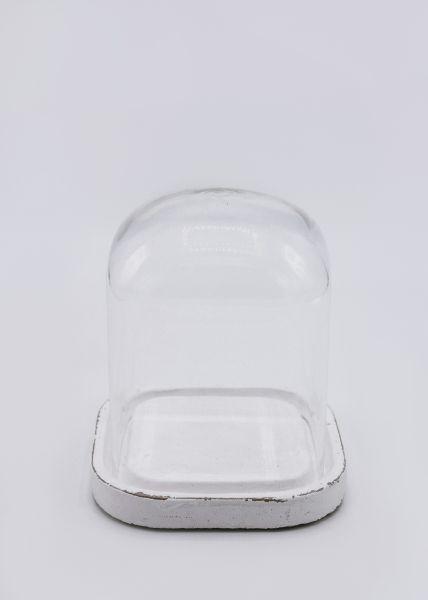 Glasglocke mit weißem Holzteil