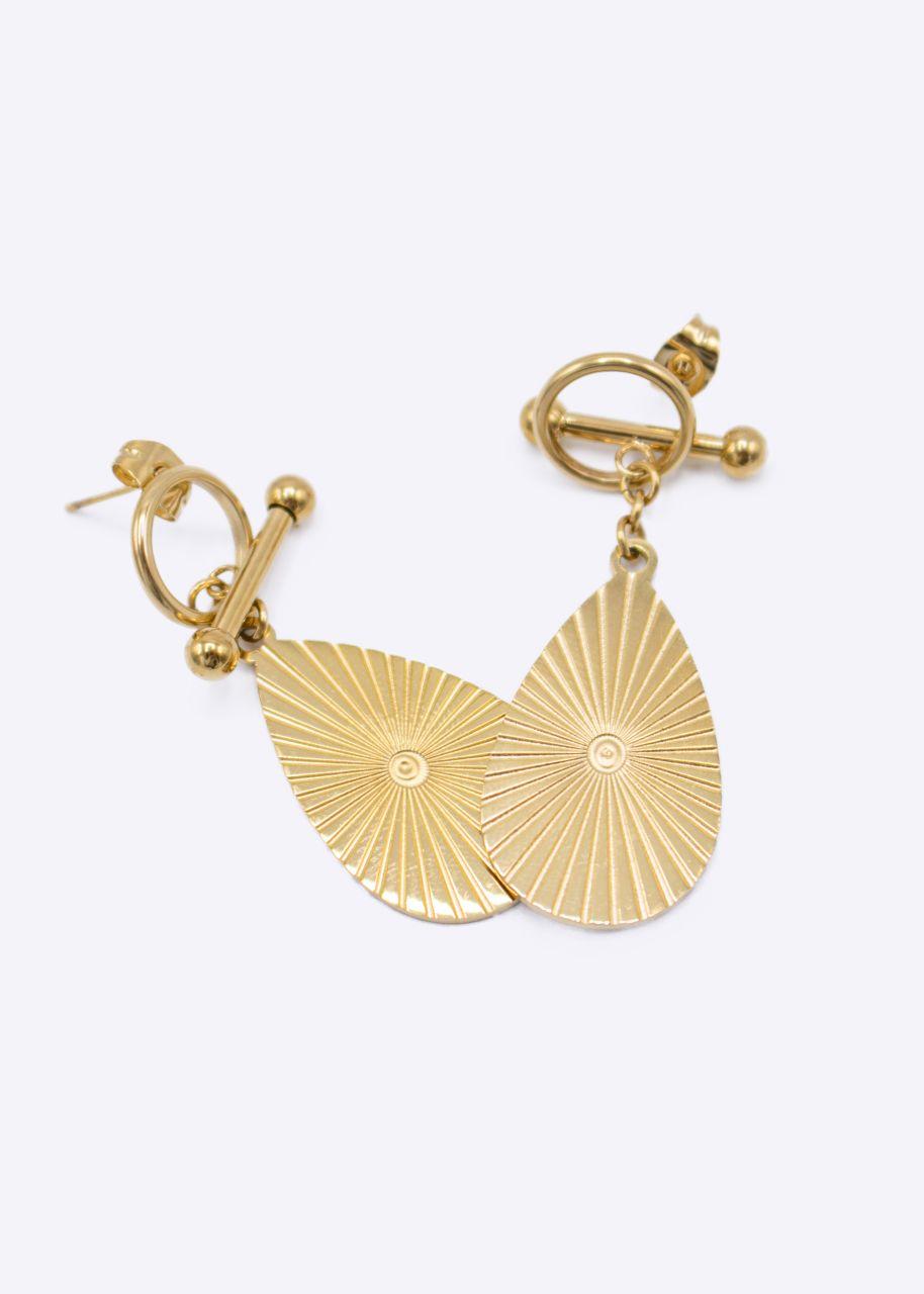 Ohrstecker mit hängendem Oval, gold