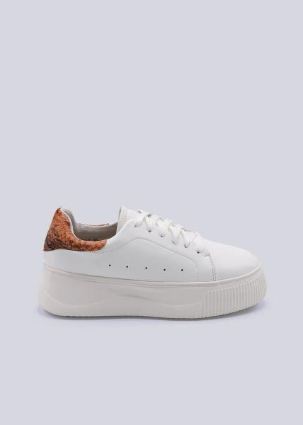 Plateau-Sneaker mit orange Ferse, weiß