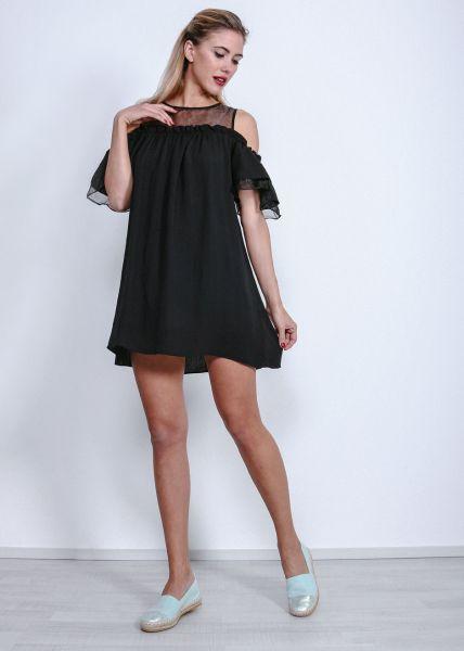 Off-Shoulder Kleid mit Organza, schwarz