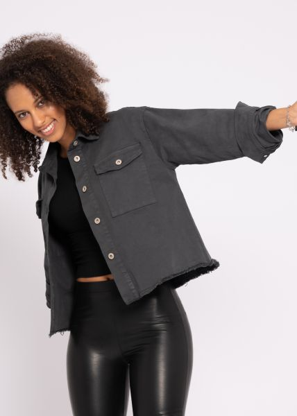 Oversize Jeans-Jacke, grau