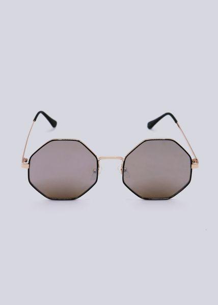 Sonnenbrille, 8-eckiger Rahmen mit Spiegelgläser, gold