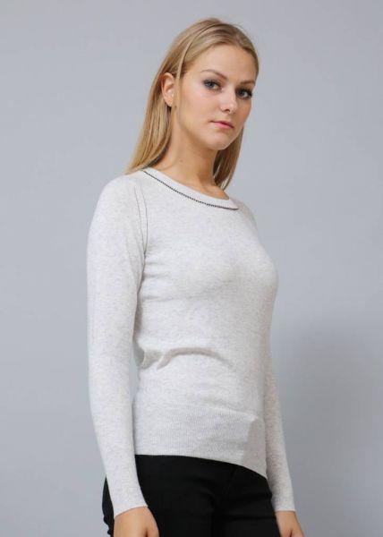 Pullover mit Strasssteinchen, grau