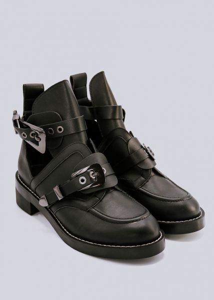 Cut-Out Boots mit 2 dunklen Schnallen, schwarz