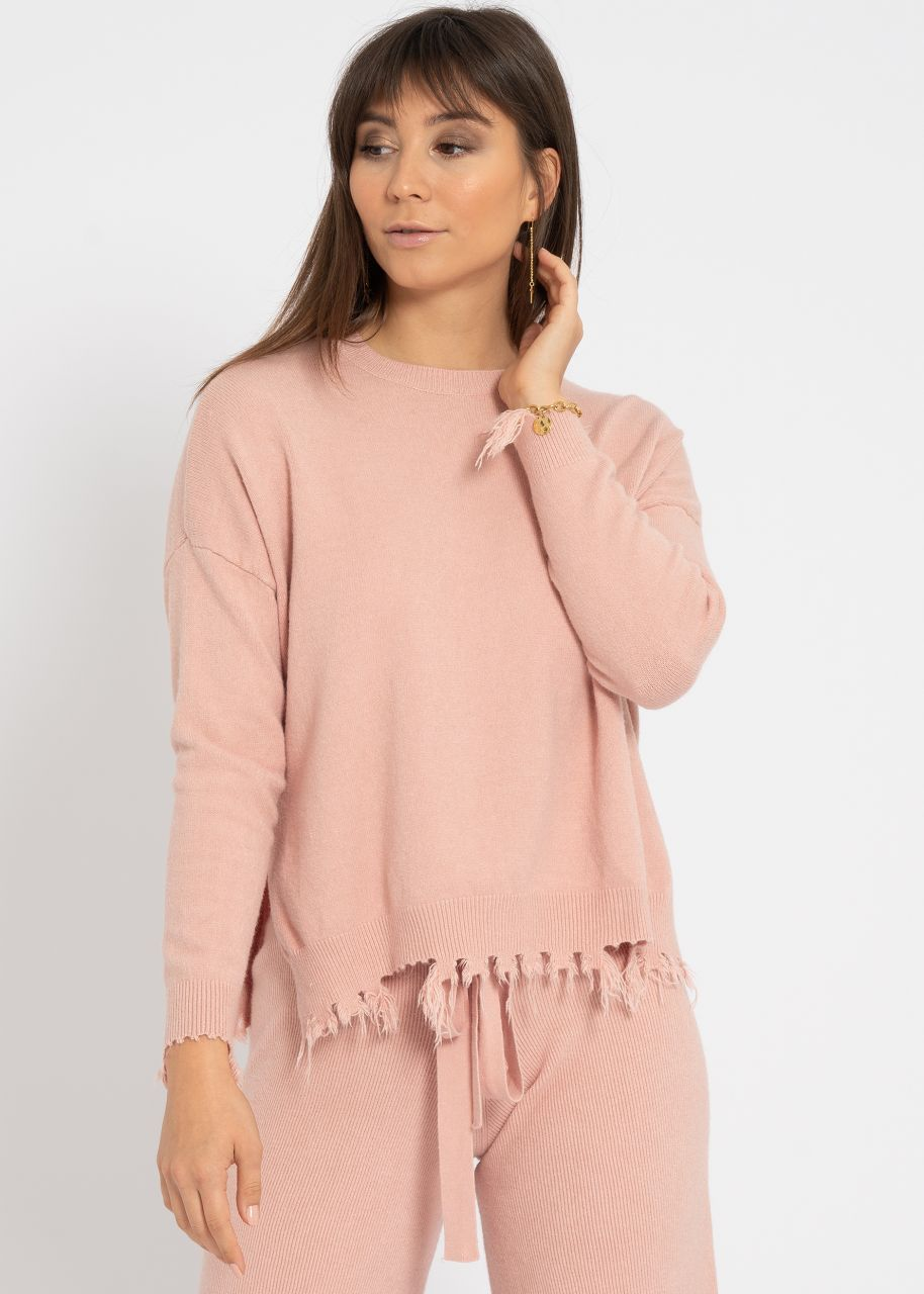Destroyed Pullover, rosa