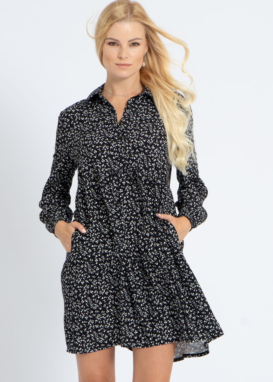 Kleid mit sassy Print, schwarz