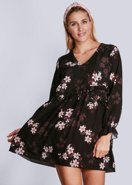Kleid mit Blumen-Print, schwarz