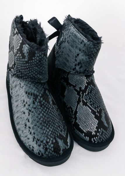 Winterboots in Snake-Design, grau