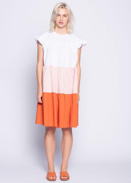 Oversize Tunika-Kleid mit farbigen Blockstreifen, weiß
